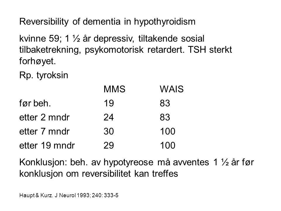 Reversibility of dementia in hypothyroidism kvinne 59; 1 ½ år depressiv, tiltakende sosial tilbaketrekning, psykomotorisk retardert. TSH sterkt forhøy