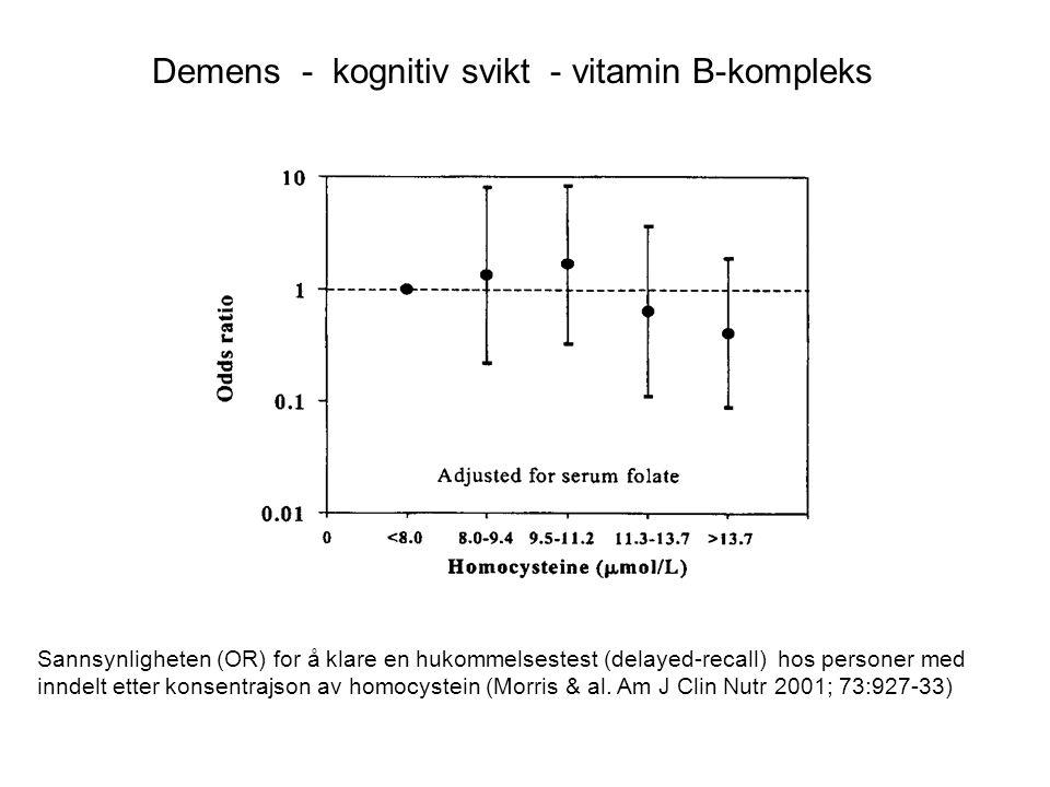 Sannsynligheten (OR) for å klare en hukommelsestest (delayed-recall) hos personer med inndelt etter konsentrajson av homocystein (Morris & al. Am J Cl