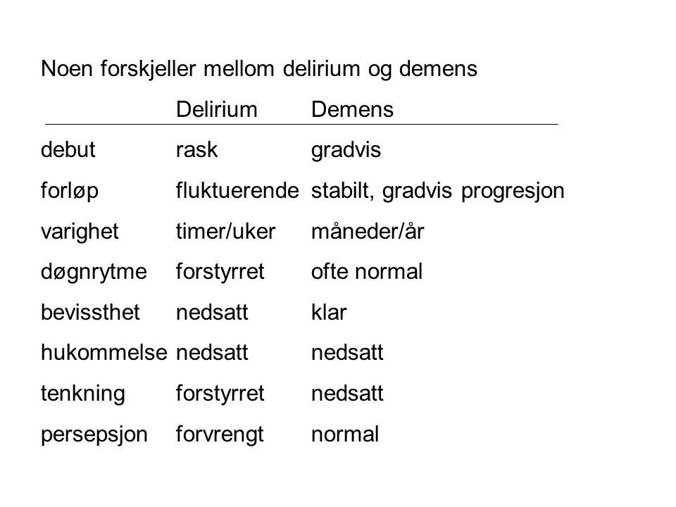 Noen forskjeller mellom delirium og demens DeliriumDemens debutraskgradvis forløpfluktuerendestabilt, gradvis progresjon varighettimer/ukermåneder/år