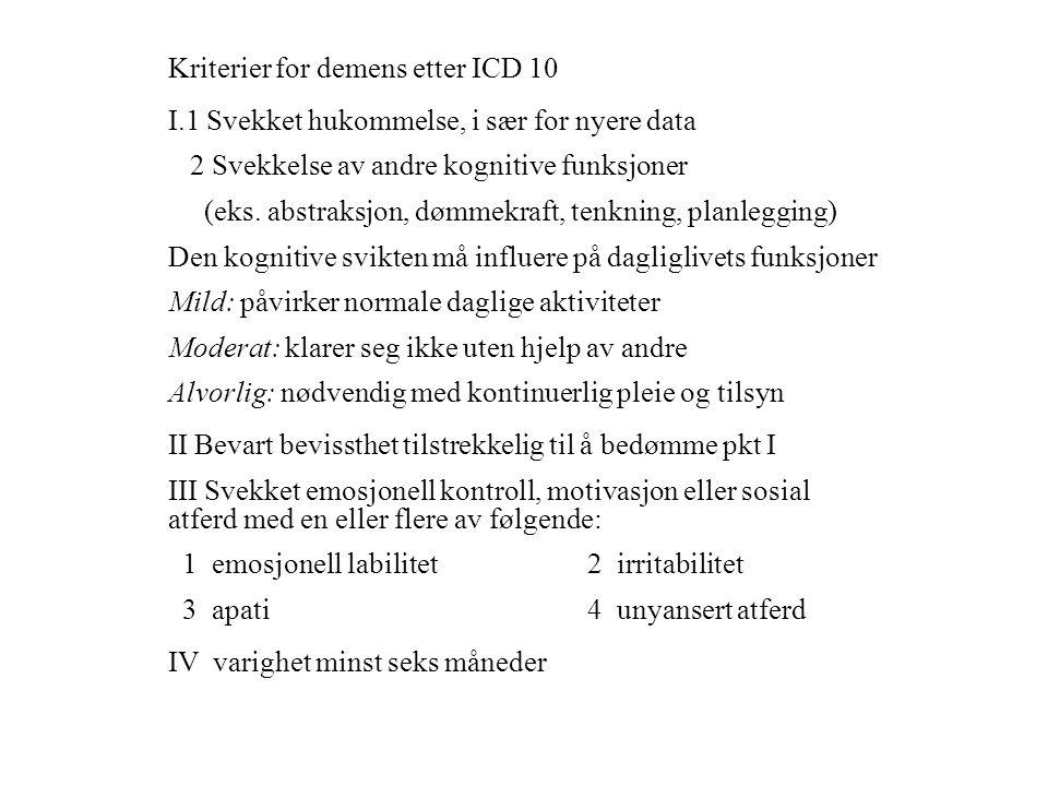Kriterier for demens etter ICD 10 I.1 Svekket hukommelse, i sær for nyere data 2 Svekkelse av andre kognitive funksjoner (eks. abstraksjon, dømmekraft