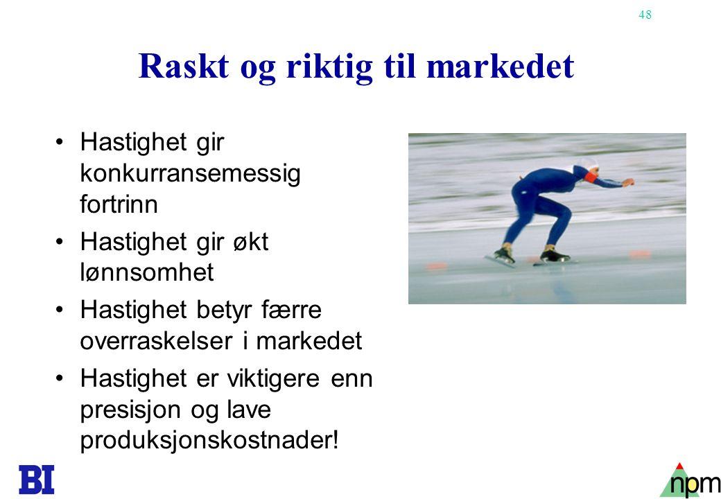 48 Raskt og riktig til markedet •Hastighet gir konkurransemessig fortrinn •Hastighet gir økt lønnsomhet •Hastighet betyr færre overraskelser i markede
