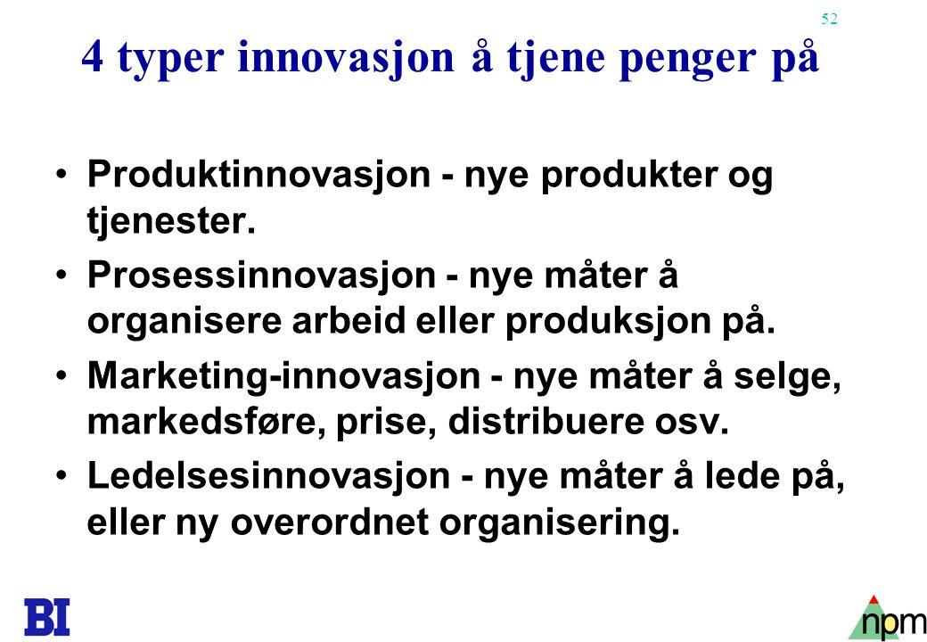 52 4 typer innovasjon å tjene penger på •Produktinnovasjon - nye produkter og tjenester. •Prosessinnovasjon - nye måter å organisere arbeid eller prod