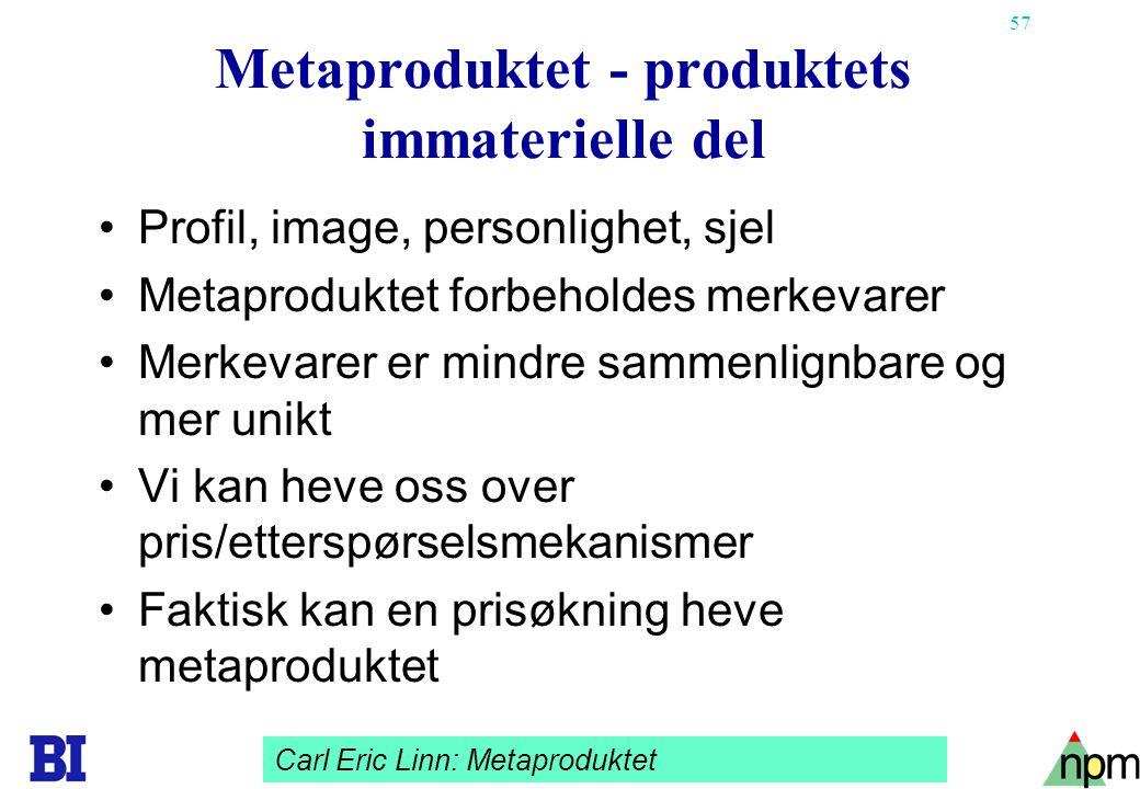 57 Metaproduktet - produktets immaterielle del •Profil, image, personlighet, sjel •Metaproduktet forbeholdes merkevarer •Merkevarer er mindre sammenli