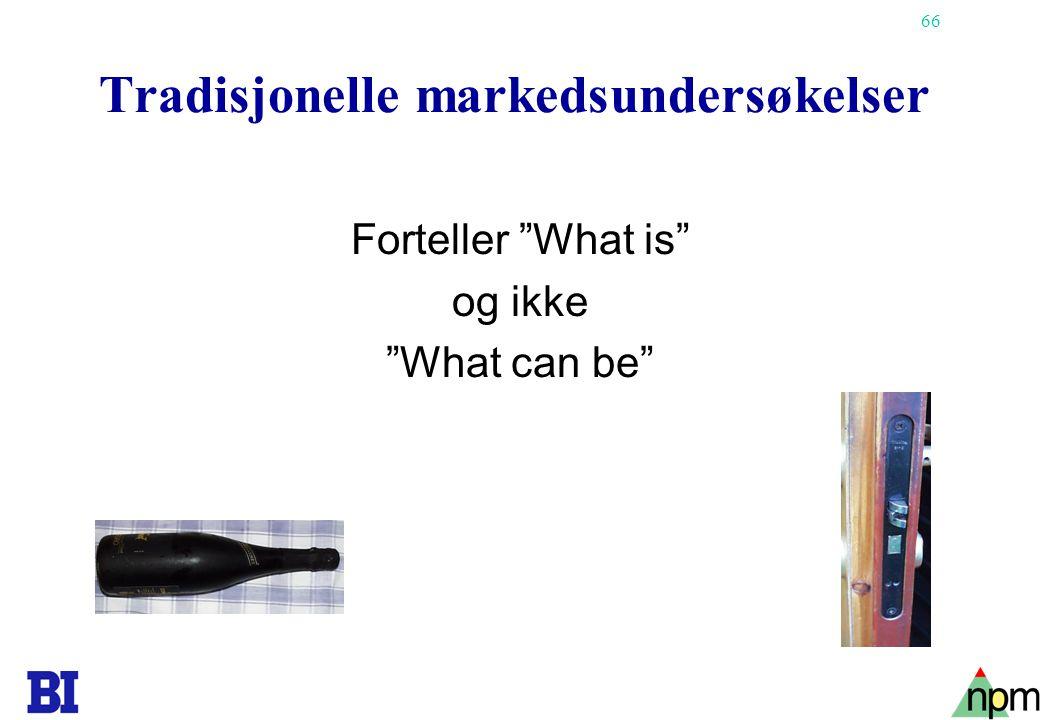 """66 Tradisjonelle markedsundersøkelser Forteller """"What is"""" og ikke """"What can be"""""""