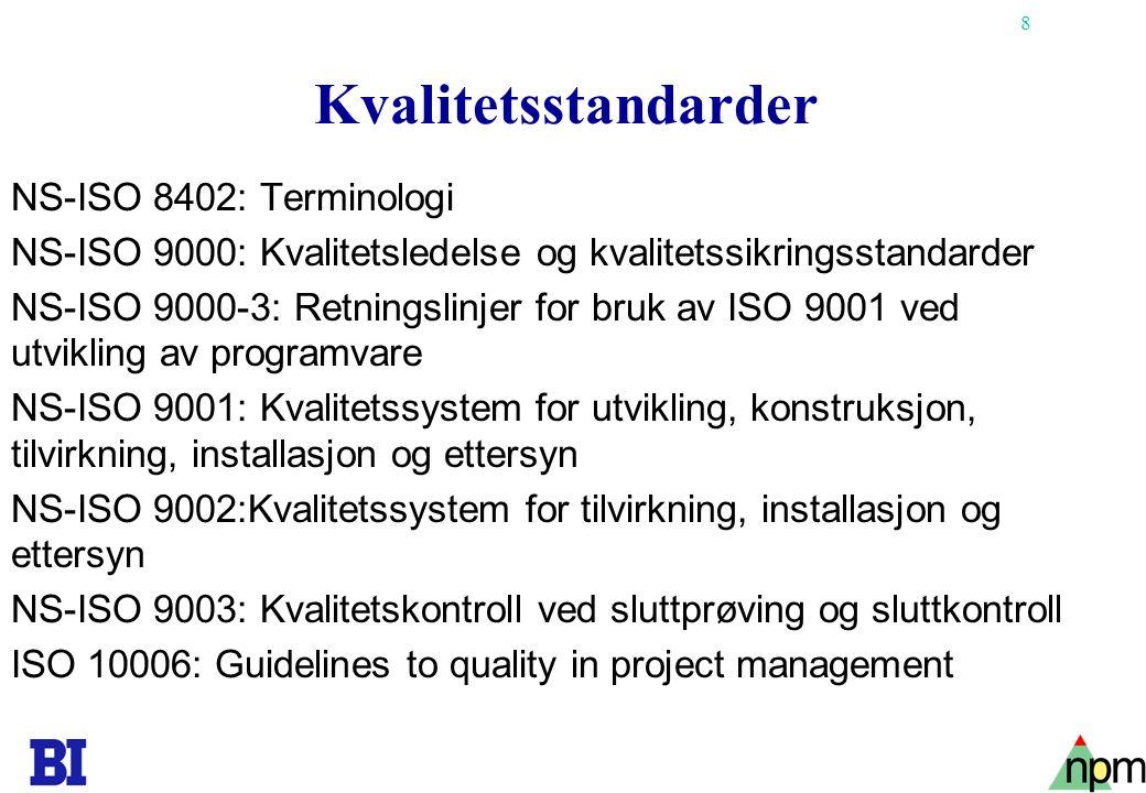 8 Kvalitetsstandarder NS-ISO 8402: Terminologi NS-ISO 9000: Kvalitetsledelse og kvalitetssikringsstandarder NS-ISO 9000-3: Retningslinjer for bruk av