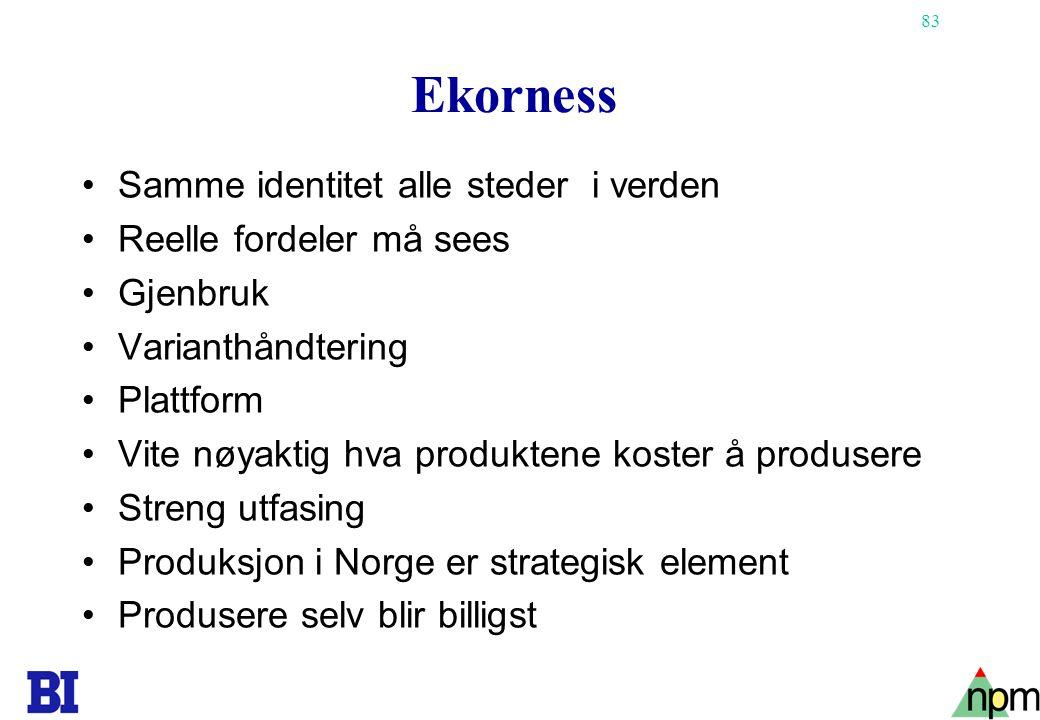83 Ekorness •Samme identitet alle steder i verden •Reelle fordeler må sees •Gjenbruk •Varianthåndtering •Plattform •Vite nøyaktig hva produktene koste