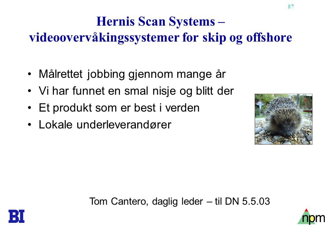 87 Hernis Scan Systems – videoovervåkingssystemer for skip og offshore •Målrettet jobbing gjennom mange år •Vi har funnet en smal nisje og blitt der •