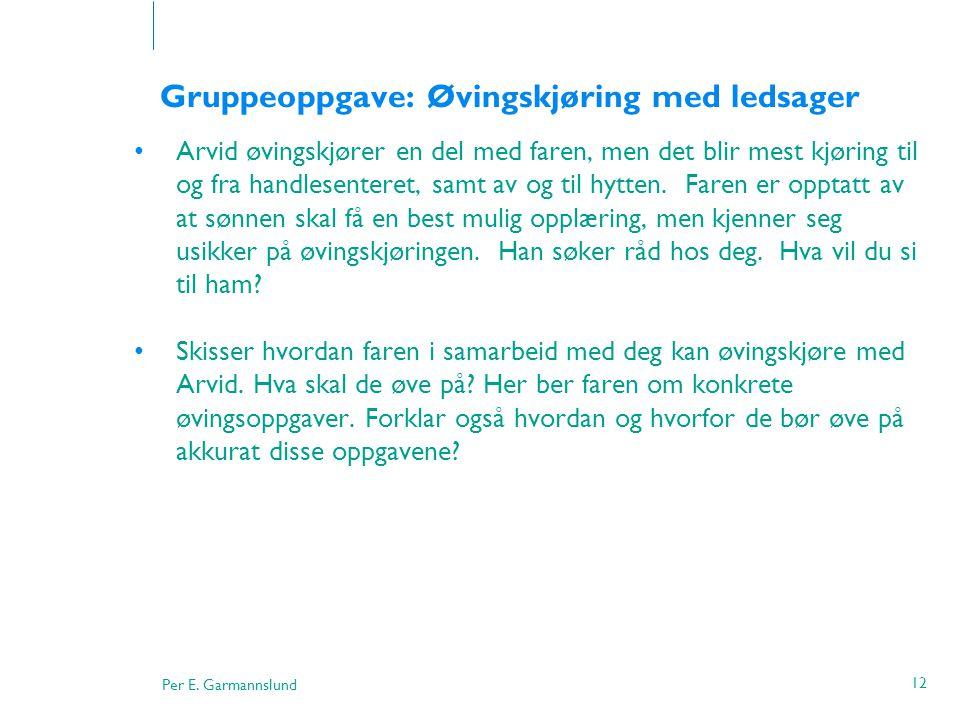 Per E. Garmannslund 12 Gruppeoppgave: Øvingskjøring med ledsager •Arvid øvingskjører en del med faren, men det blir mest kjøring til og fra handlesent