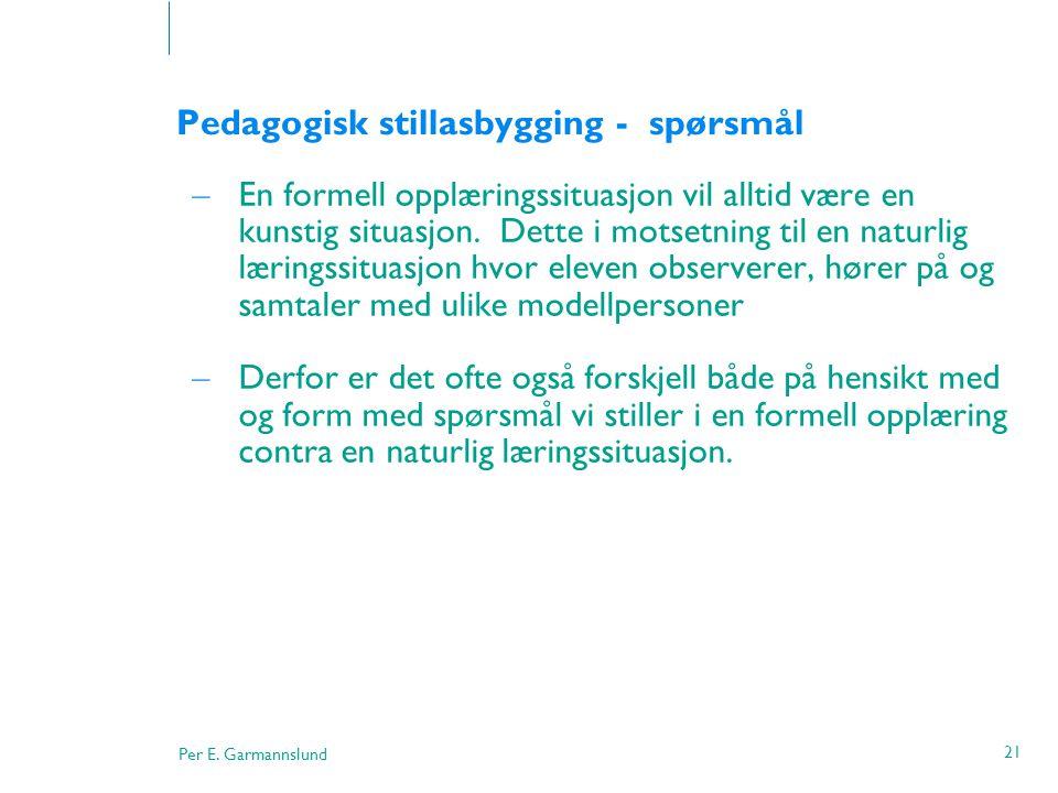 Per E. Garmannslund 21 Pedagogisk stillasbygging - spørsmål – En formell opplæringssituasjon vil alltid være en kunstig situasjon. Dette i motsetning