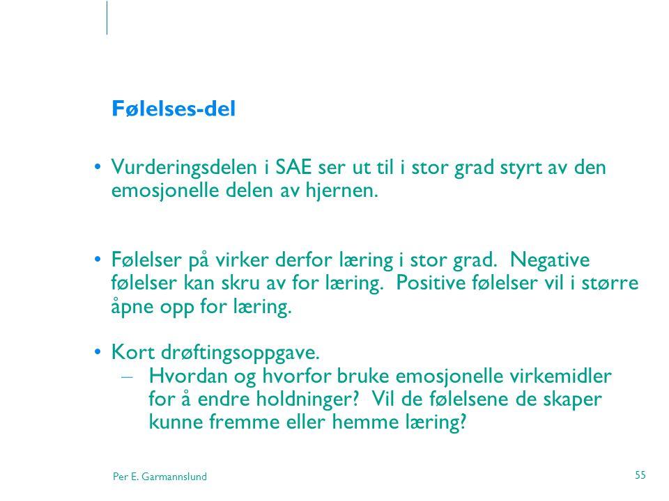 Per E. Garmannslund 55 Følelses-del •Vurderingsdelen i SAE ser ut til i stor grad styrt av den emosjonelle delen av hjernen. •Følelser på virker derfo
