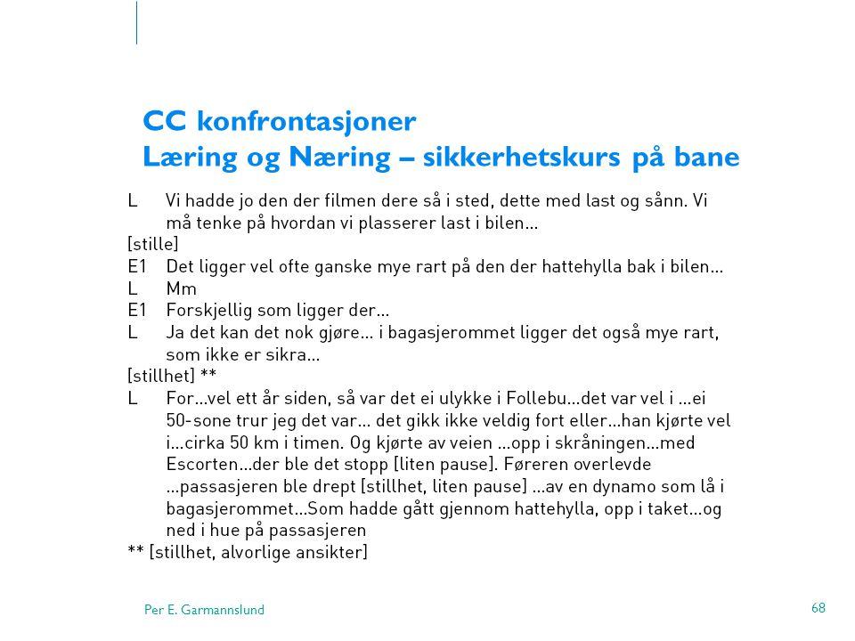 Per E. Garmannslund 68 CC konfrontasjoner Læring og Næring – sikkerhetskurs på bane