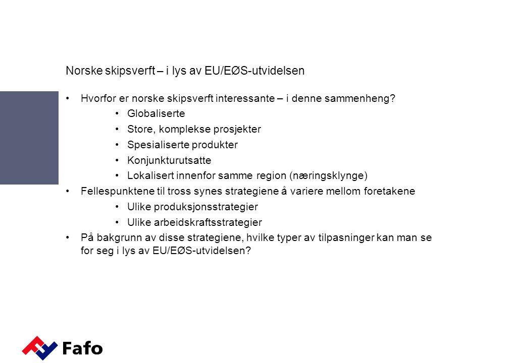 Tre typer av tilpasninger – i lys av EU/EØS-utvidelsen Remote Control: -Mer uteproduksjon Øst-Europa: Oppkjøp av virksomhet i Øst-Europa Konkurransefortrinn: Stor produksjonskapasitet Kjernekompetanse: Prosjektstyring og - ledelse Home Sweet Home: - Mer hjemmeproduksjon Øst-Europa: Innleie av østeuropeisk arbeidskraft Konkurransefortrinn: Raskere gjennomløpningstid Kjernekompetanse: Arbeids- og produksjonsledelse Easy Rider: - Delproduksjon basert på underentreprise Øst-Europa: Utsetting av produksjon til Øst- Europa Konkurransefortrinn: Design og produktutvikling Kjernekompetanse: FoU