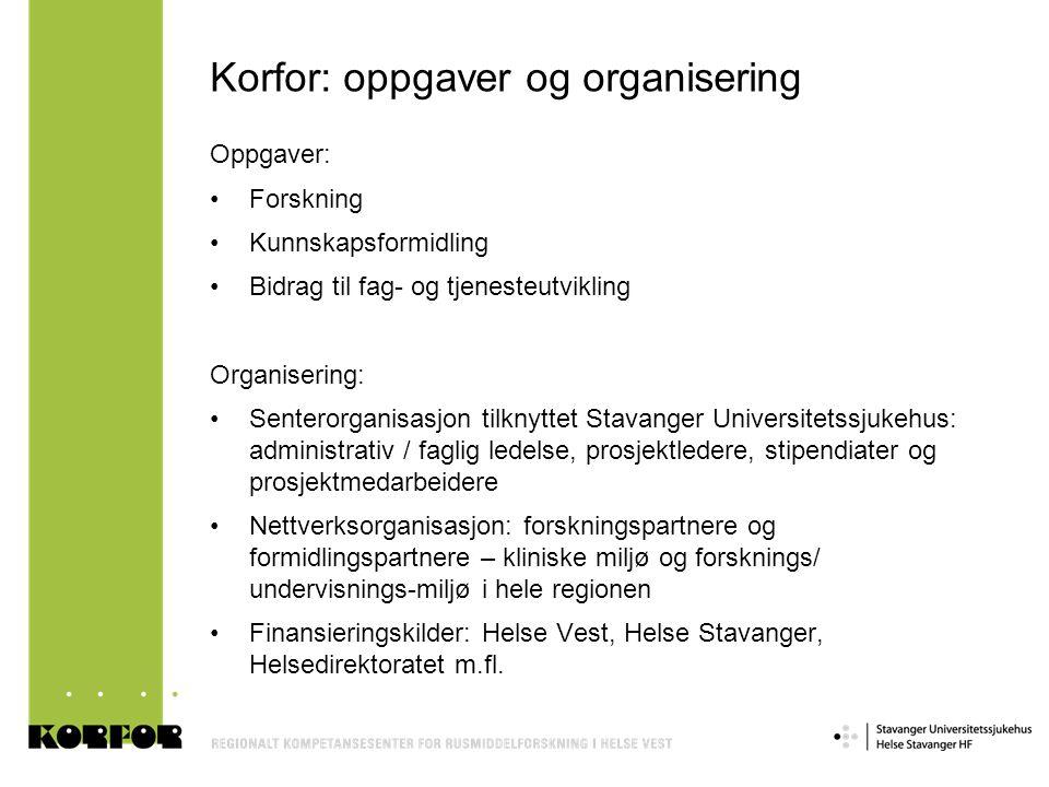 Korfor: oppgaver og organisering Oppgaver: •Forskning •Kunnskapsformidling •Bidrag til fag- og tjenesteutvikling Organisering: •Senterorganisasjon til