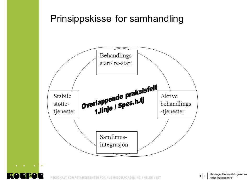 Prinsippskisse for samhandling Behandlings- start/ re-start Samfunns- integrasjon Stabile støtte- tjenester Aktive behandlings -tjenester