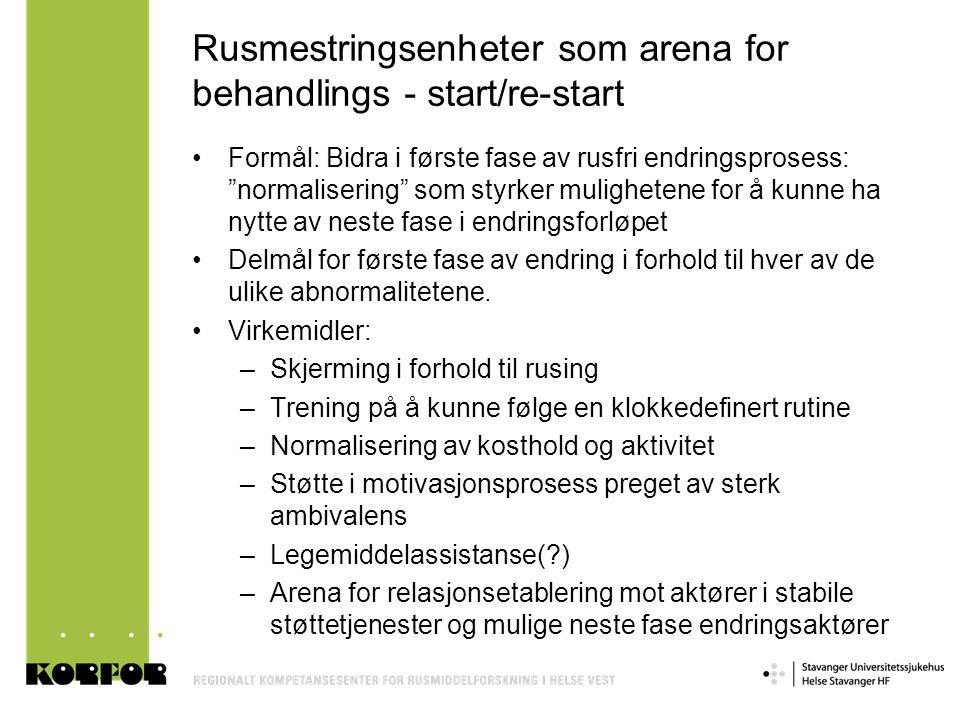 """Rusmestringsenheter som arena for behandlings - start/re-start •Formål: Bidra i første fase av rusfri endringsprosess: """"normalisering"""" som styrker mul"""