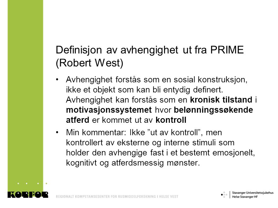 Own study – method and sample •Research team: academic background & drug user background: complementary competences utilized in all phases of the project •Eight qualitative interviews of multi-drug users (all including heroin), recruited in a low threshold service in a middle size city in Norway •Four/four women/men, age between 22 and 43, seven injecting, one smoking, using heroin between 4 and 15 years •Not in any kind of active treatment, relations to primary health and social services •Desperately trying to avoid using specific time concepts while asking questions (thought to be a big methodological failure in earlier research) •Taped, transcribed, analyzed (using NVivo 8) •Developed versions of Grounded Theory: theory guided, hermeneutical analyzes