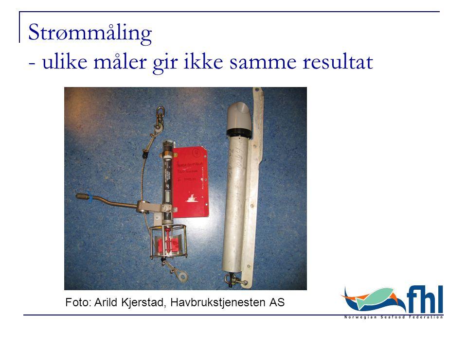 Strømmåling - ulike måler gir ikke samme resultat Foto: Arild Kjerstad, Havbrukstjenesten AS