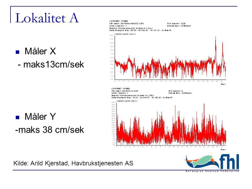  Måler X - maks13cm/sek  Måler Y -maks 38 cm/sek Lokalitet A Kilde: Arild Kjerstad, Havbrukstjenesten AS