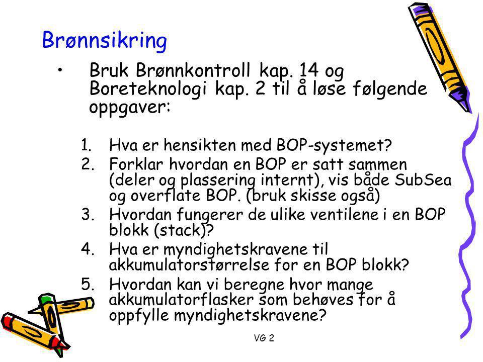 VG 2 Brønnsikring •Bruk Brønnkontroll kap.14 og Boreteknologi kap.