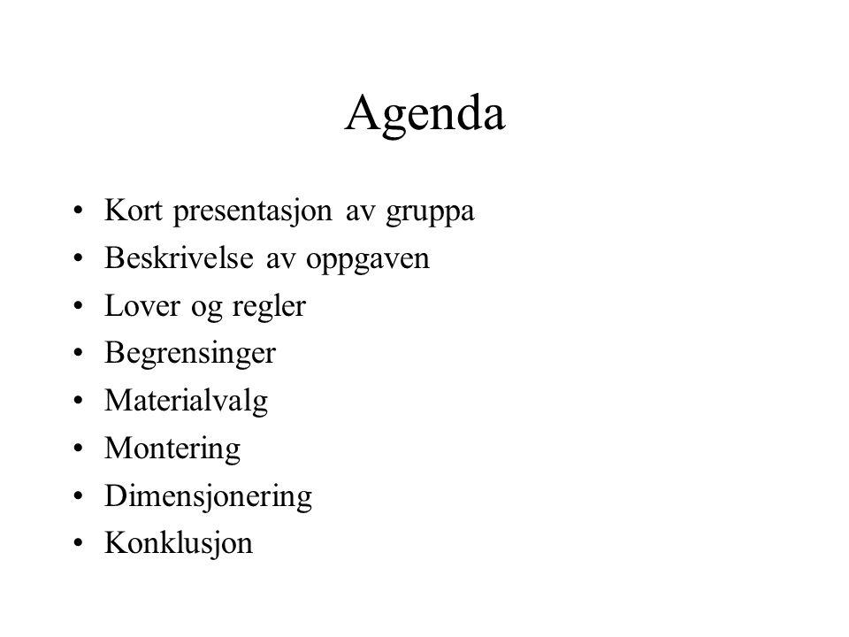 Agenda •Kort presentasjon av gruppa •Beskrivelse av oppgaven •Lover og regler •Begrensinger •Materialvalg •Montering •Dimensjonering •Konklusjon