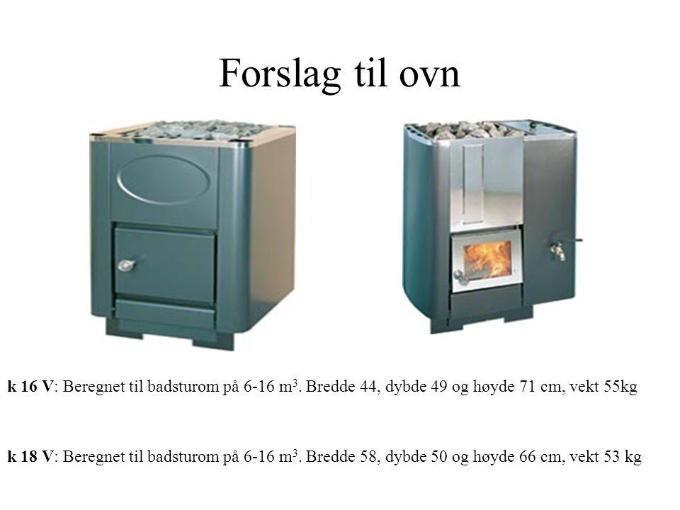 Forslag til ovn k 16 V: Beregnet til badsturom på 6-16 m 3. Bredde 44, dybde 49 og høyde 71 cm, vekt 55kg k 18 V: Beregnet til badsturom på 6-16 m 3.