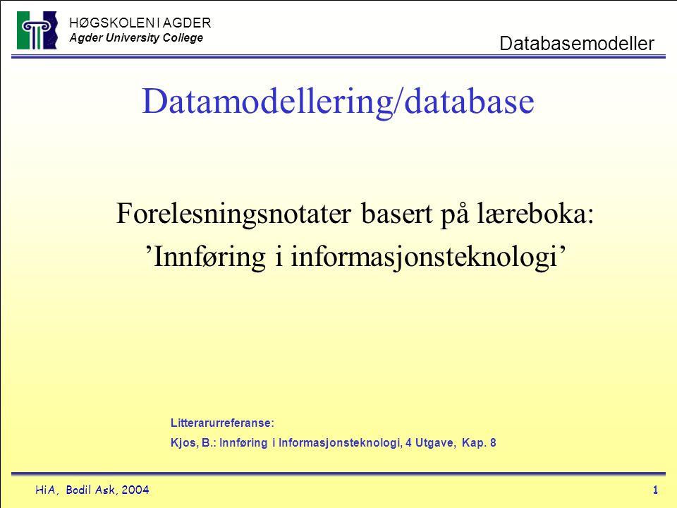HØGSKOLEN I AGDER Agder University College HiA, Bodil Ask, 20041 Databasemodeller Datamodellering/database Forelesningsnotater basert på læreboka: 'In
