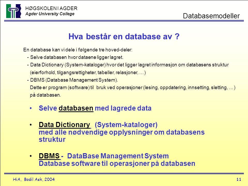 HØGSKOLEN I AGDER Agder University College HiA, Bodil Ask, 200411 Databasemodeller Hva består en database av ? •Selve databasen med lagrede data •Data