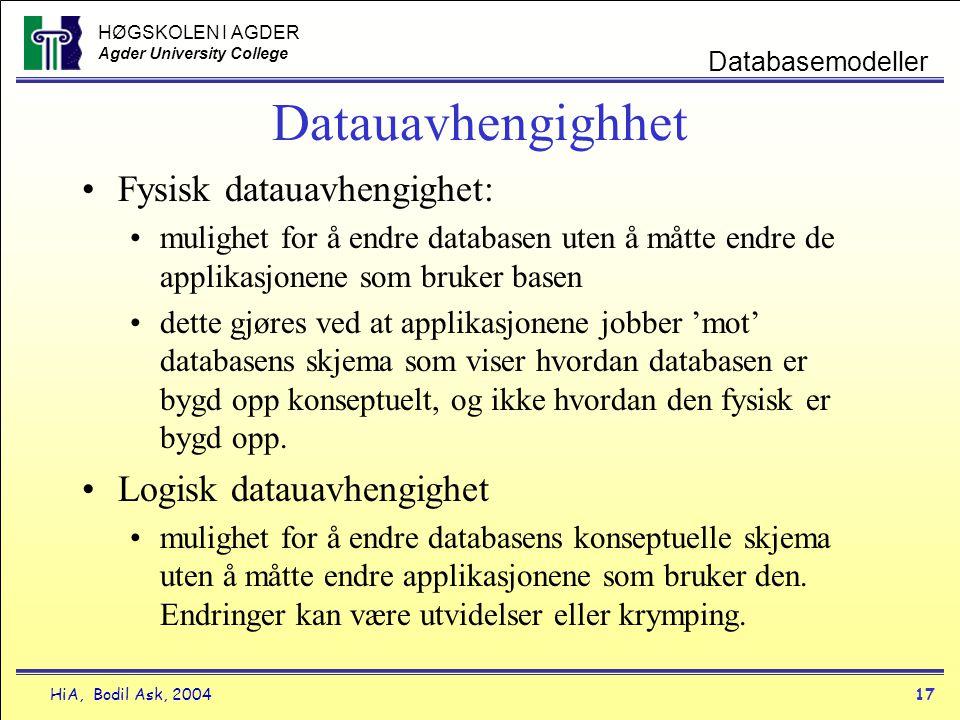 HØGSKOLEN I AGDER Agder University College HiA, Bodil Ask, 200417 Databasemodeller Datauavhengighhet •Fysisk datauavhengighet: •mulighet for å endre d