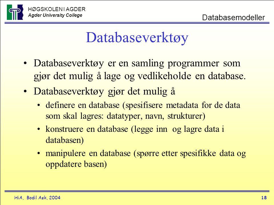 HØGSKOLEN I AGDER Agder University College HiA, Bodil Ask, 200418 Databasemodeller Databaseverktøy •Databaseverktøy er en samling programmer som gjør
