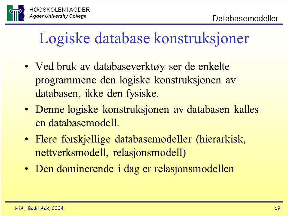HØGSKOLEN I AGDER Agder University College HiA, Bodil Ask, 200419 Databasemodeller Logiske database konstruksjoner •Ved bruk av databaseverktøy ser de