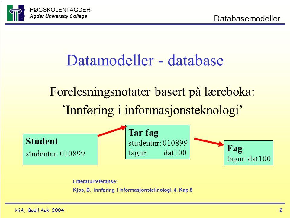 HØGSKOLEN I AGDER Agder University College HiA, Bodil Ask, 20042 Databasemodeller Datamodeller - database Forelesningsnotater basert på læreboka: 'Inn