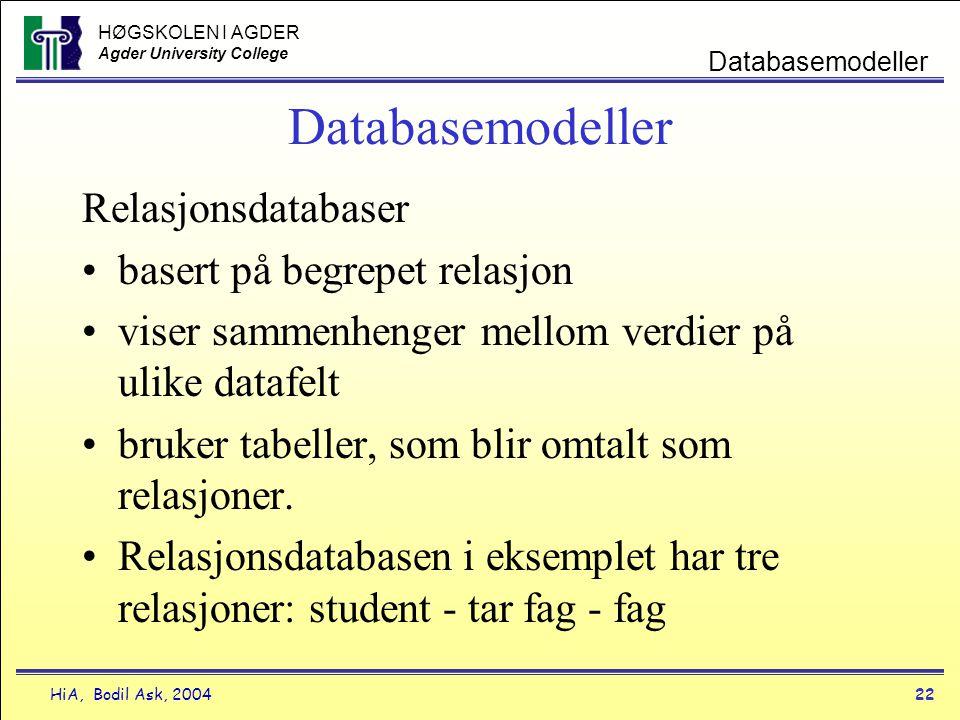 HØGSKOLEN I AGDER Agder University College HiA, Bodil Ask, 200422 Databasemodeller Relasjonsdatabaser •basert på begrepet relasjon •viser sammenhenger
