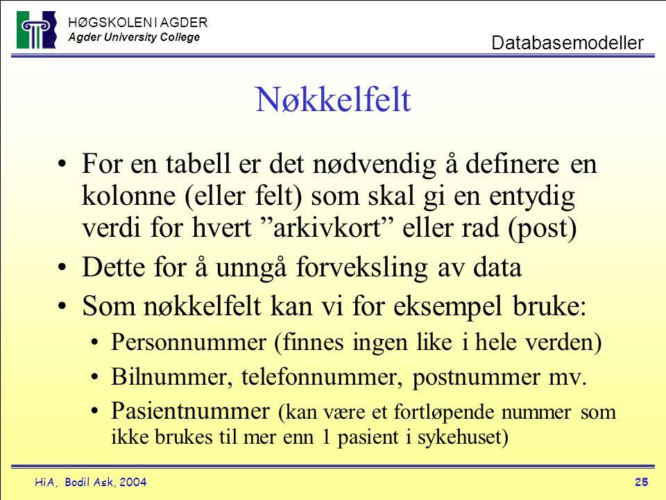 HØGSKOLEN I AGDER Agder University College HiA, Bodil Ask, 200425 Databasemodeller Nøkkelfelt •For en tabell er det nødvendig å definere en kolonne (e