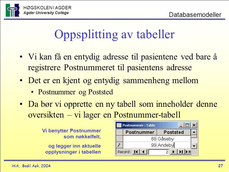 HØGSKOLEN I AGDER Agder University College HiA, Bodil Ask, 200427 Databasemodeller Oppsplitting av tabeller •Vi kan få en entydig adresse til pasiente