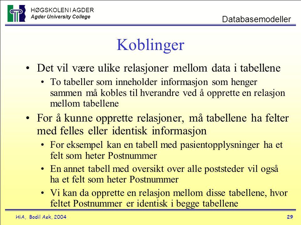 HØGSKOLEN I AGDER Agder University College HiA, Bodil Ask, 200429 Databasemodeller Koblinger •Det vil være ulike relasjoner mellom data i tabellene •T