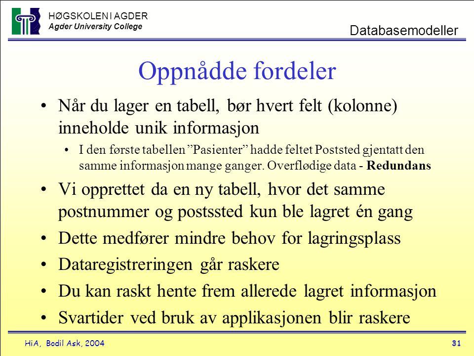 HØGSKOLEN I AGDER Agder University College HiA, Bodil Ask, 200431 Databasemodeller Oppnådde fordeler •Når du lager en tabell, bør hvert felt (kolonne)