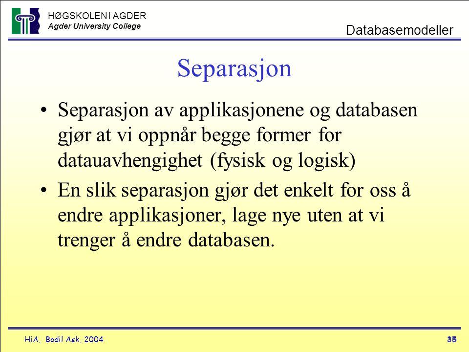 HØGSKOLEN I AGDER Agder University College HiA, Bodil Ask, 200435 Databasemodeller Separasjon •Separasjon av applikasjonene og databasen gjør at vi op