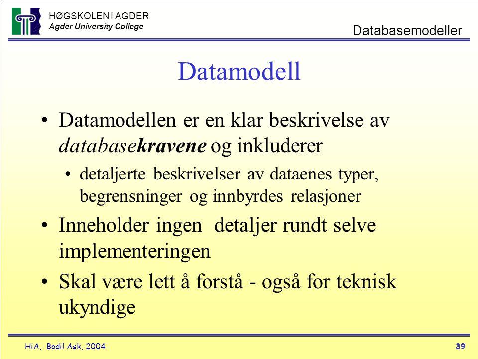 HØGSKOLEN I AGDER Agder University College HiA, Bodil Ask, 200439 Databasemodeller Datamodell •Datamodellen er en klar beskrivelse av databasekravene