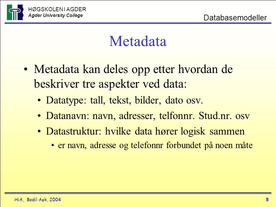 HØGSKOLEN I AGDER Agder University College HiA, Bodil Ask, 20045 Databasemodeller Metadata •Metadata kan deles opp etter hvordan de beskriver tre aspe