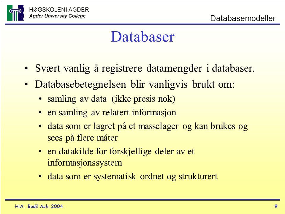HØGSKOLEN I AGDER Agder University College HiA, Bodil Ask, 20049 Databasemodeller Databaser •Svært vanlig å registrere datamengder i databaser. •Datab