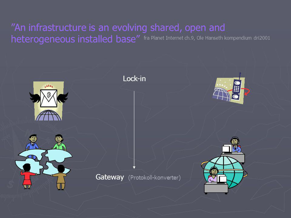 An infrastructure is an evolving shared, open and heterogeneous installed base Gateway (Protokoll-konverter) Lock-in fra Planet Internet ch.9, Ole Hanseth kompendium dri2001