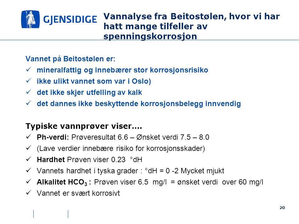 Vannet på Beitostølen er:  mineralfattig og innebærer stor korrosjonsrisiko  ikke ulikt vannet som var i Oslo)  det ikke skjer utfelling av kalk  det dannes ikke beskyttende korrosjonsbelegg innvendig Typiske vannprøver viser….