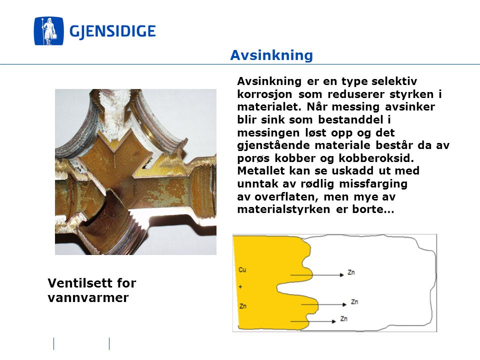 Avsinkning Avsinkning er en type selektiv korrosjon som reduserer styrken i materialet.