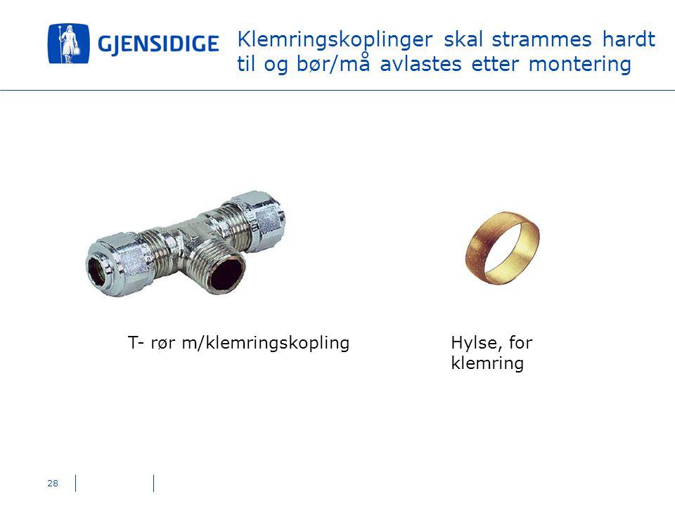 28 Klemringskoplinger skal strammes hardt til og bør/må avlastes etter montering T- rør m/klemringskoplingHylse, for klemring