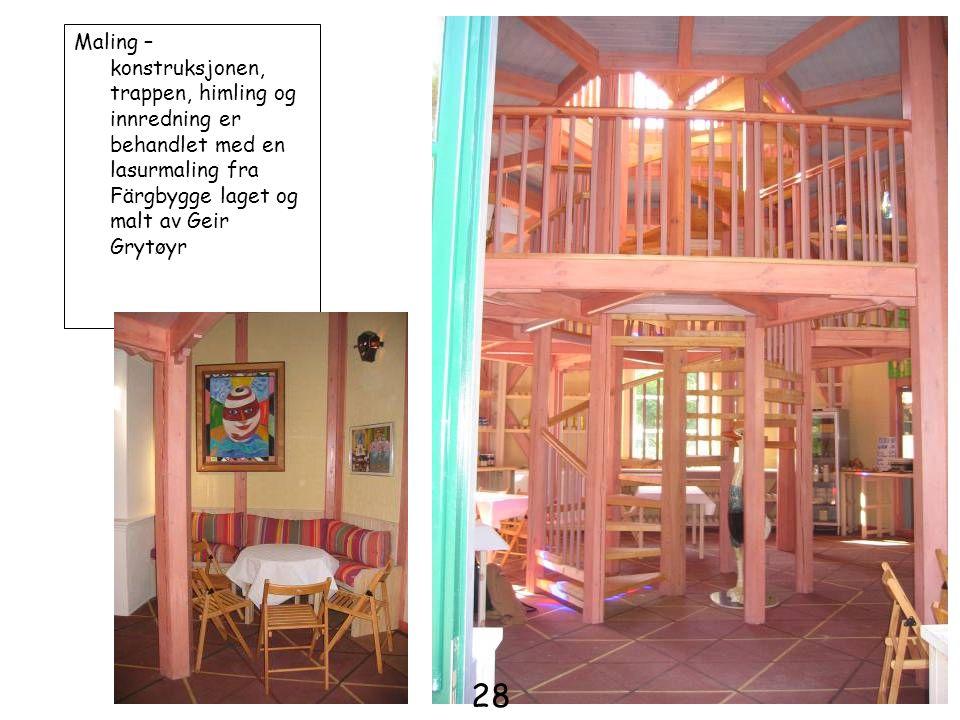 Maling – konstruksjonen, trappen, himling og innredning er behandlet med en lasurmaling fra Färgbygge laget og malt av Geir Grytøyr 28