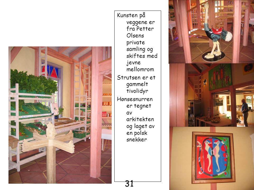 Kunsten på veggene er fra Petter Olsens private samling og skiftes med jevne mellomrom Strutsen er et gammelt tivolidyr Hønsesnurren er tegnet av arki