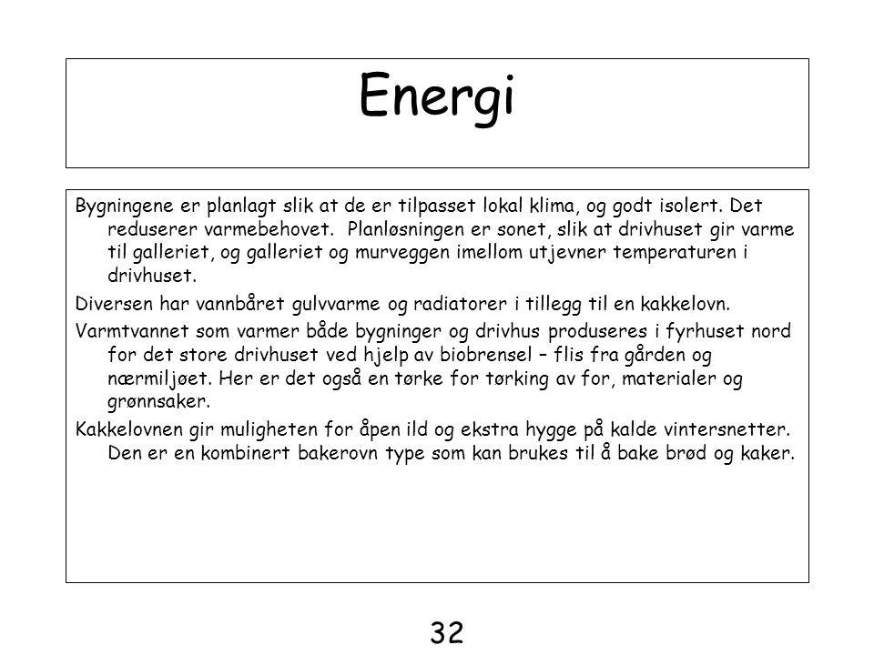 Energi Bygningene er planlagt slik at de er tilpasset lokal klima, og godt isolert. Det reduserer varmebehovet. Planløsningen er sonet, slik at drivhu