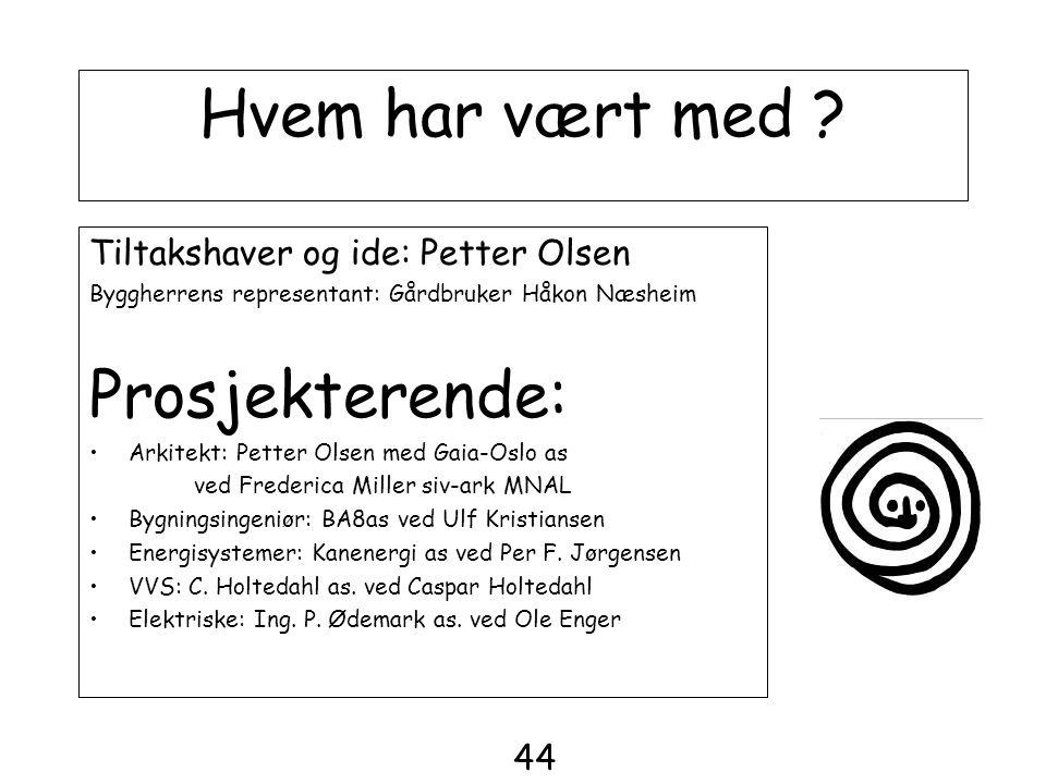 Hvem har vært med ? Tiltakshaver og ide: Petter Olsen Byggherrens representant: Gårdbruker Håkon Næsheim Prosjekterende: •Arkitekt: Petter Olsen med G