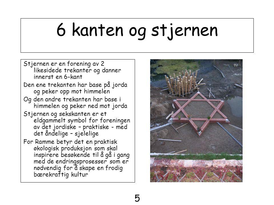 6 kanten og stjernen Stjernen er en forening av 2 likesidede trekanter og danner innerst en 6-kant Den ene trekanten har base på jorda og peker opp mo