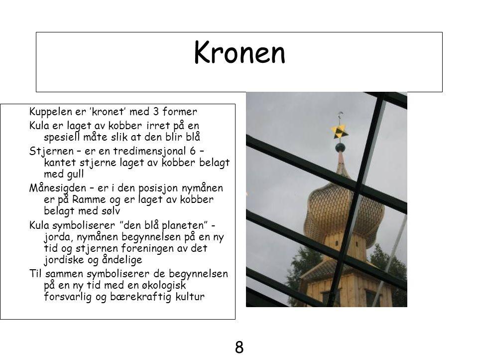 Kronen Kuppelen er 'kronet' med 3 former Kula er laget av kobber irret på en spesiell måte slik at den blir blå Stjernen – er en tredimensjonal 6 – ka